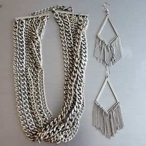 5 for 30!! Silver Chain Chunky Necklace Earrings